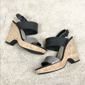 [Franco Sarto] Black and Silver Wedge Sandals